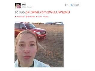 Passageira registrou o momento com uma selfie