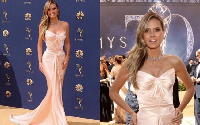 Looks das famosas: Heidi Klum apostou em um vestido modelo cauda de sereia, que valoriza as curvas do corpo feminino