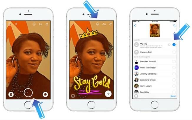 Após editar imagem, usuário do Messenger pode manter conteúdo no celular, enviar para amigos ou publicar no