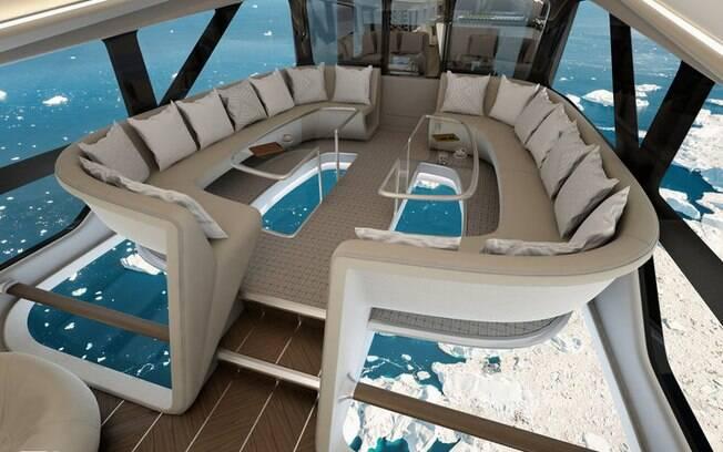 Além de ter o piso transparente, a aeronave conta com sofás, quartos e banheiros com janelas do piso ao teto