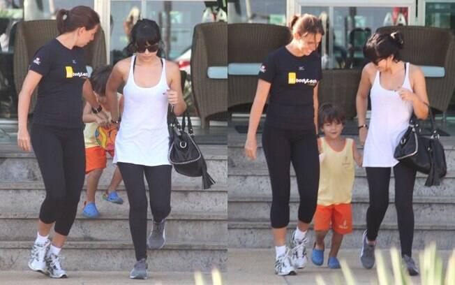 Vanessa Giácomo ao lado do filho, Raul, e de uma amiga