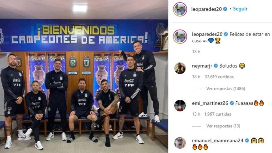Neymar comenta em foto e Paredes no Instagram: 'boludos' quer dizer 'tontos' ou 'idiotas' em espanhol