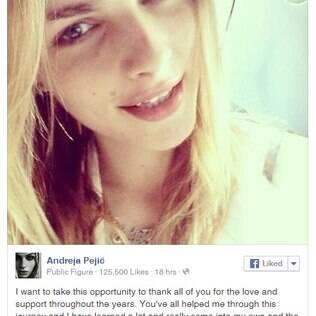 Mensagem de Andreja Pejic em sua página no Facebook