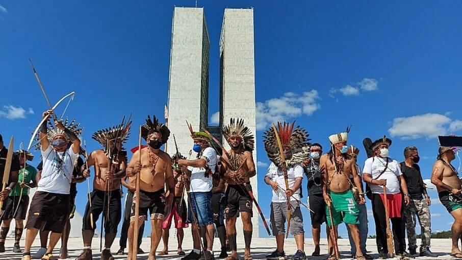 Indígenas ocuparam cúpula do Congresso Nacional contra PL 490