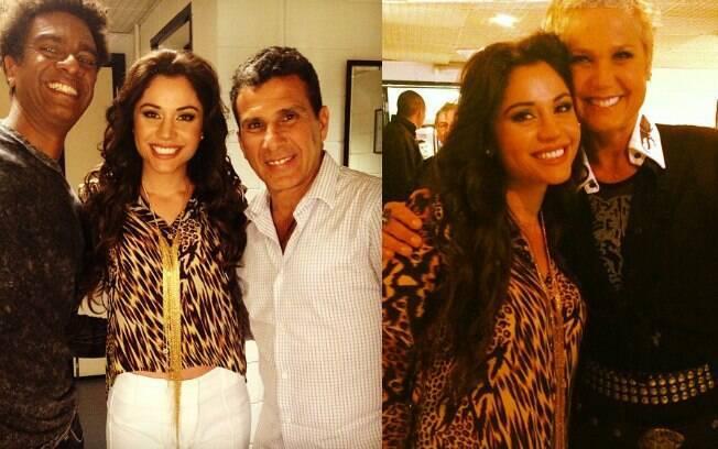 Maria Melilo posa com Hélio de la Peña e Eri Johnson. Na foto com Xuxa, ela tieta: 'Eterna baixinha'