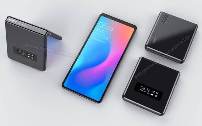 Renderização do celular dobrável em flip da Xiaomi