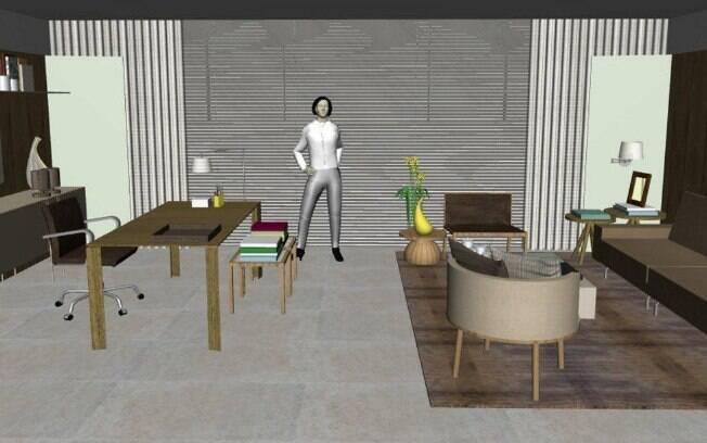 O 'ateliê do estilista' planejado pelo arquiteto Bruno Gap conta com a presença de um tapete confeccionado com fibra de bromélia