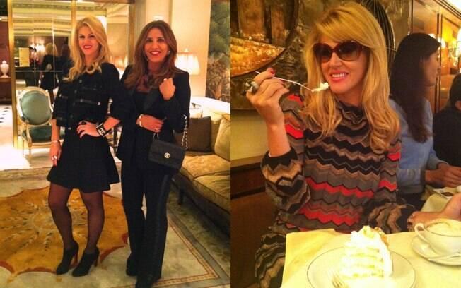 Val Marchiori com a amiga Flávia Rocha no saguão do Hotel Plaza Athenée, um dos mais exclusivos de Manhattan e no restaurante Cipriani