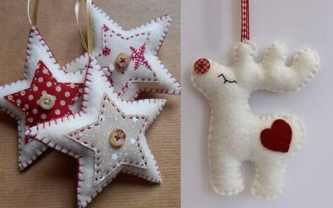 A almofada de Natal deixa o ambiente temático, assim como esses enfeites; inspire-se nas estrelas e na rena