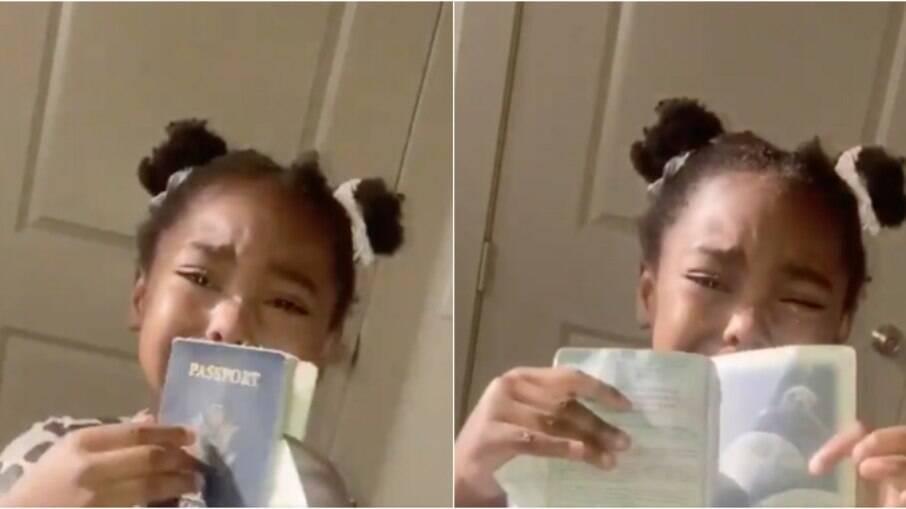 Menina começou a chorar quando encontrou o passaporte da mãe