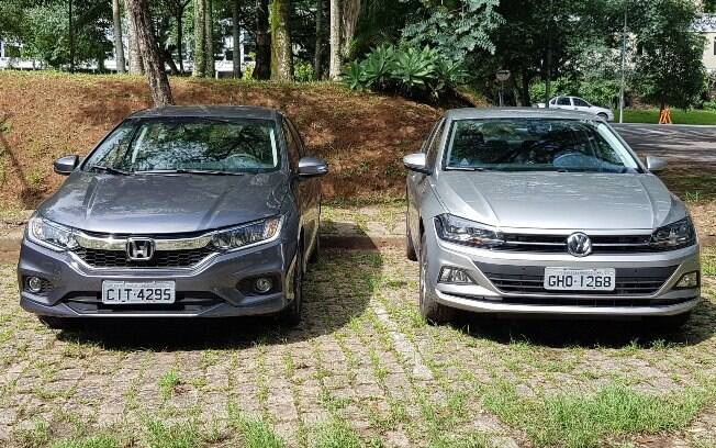 No Honda,  a frente renovada tem faróis de LED e frente inspirada no Civic. E a parte frontal do Virtus é igual a do Polo