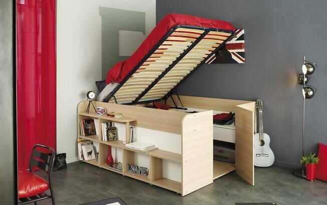 Móveis funcionais são aqueles que agrupam vários itens da mobília em um só, como esta cama que também é um armário