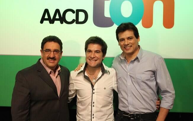 Ratinho, Daniel e Celso Portiolli durante a coletiva de imprensado Teleton, em São Paulo