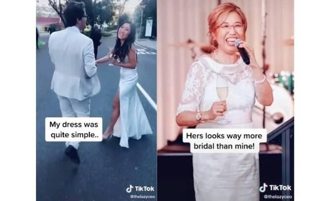 Vestido da noiva e o vestido da mãe dela