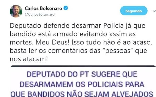Carlos Bolsonaro voltou a compartilhar notícias falsas nas redes sociais