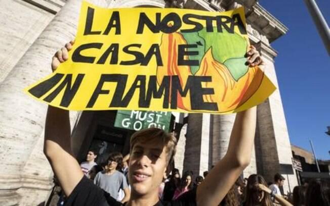 Manifestação de jovens ambientalistas em Roma