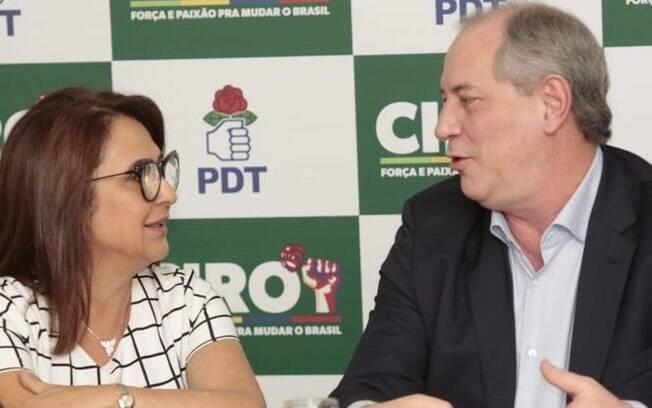 Ciro Gomes e Kátia Abreu em evento do PDT nesta segunda-feira (6), quando senadora foi nomeada candidata a vice