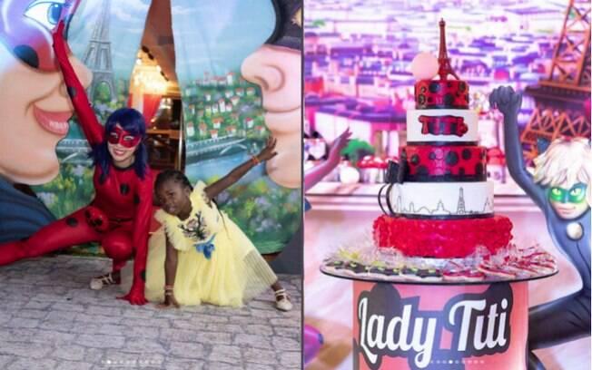A festa infantil de Titi Gagliasso teve tema de Ladybug, contando até com uma animadora fantasiada da personagem