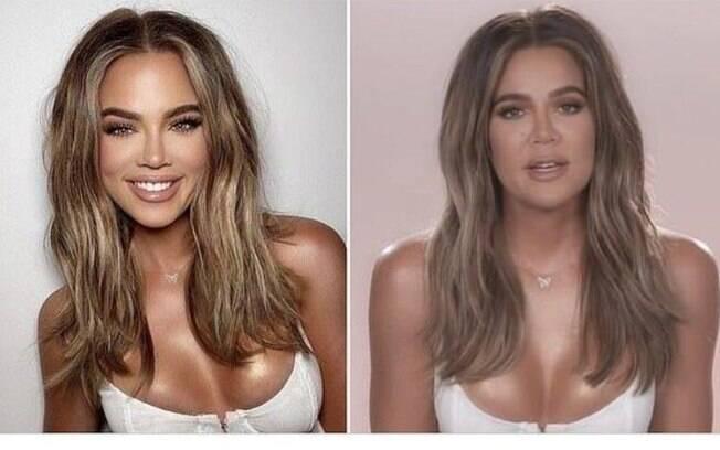 Khloe Kardashian aparece irreconhecível após photoshop