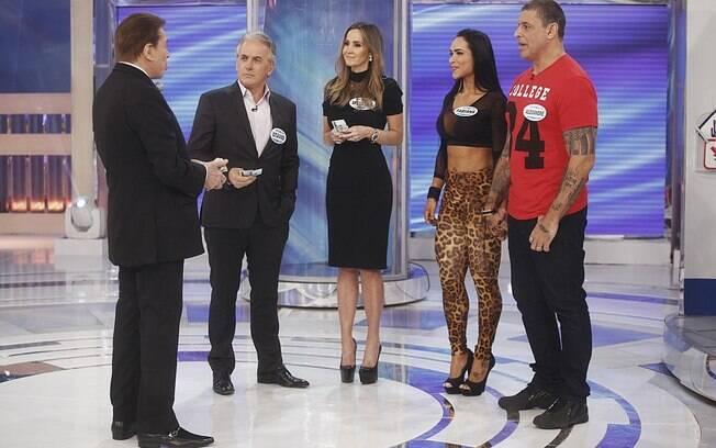 Silvio Santos com Otávio Mesquita, Melissa Wilman, Fabi Frota e Alexandre Frota