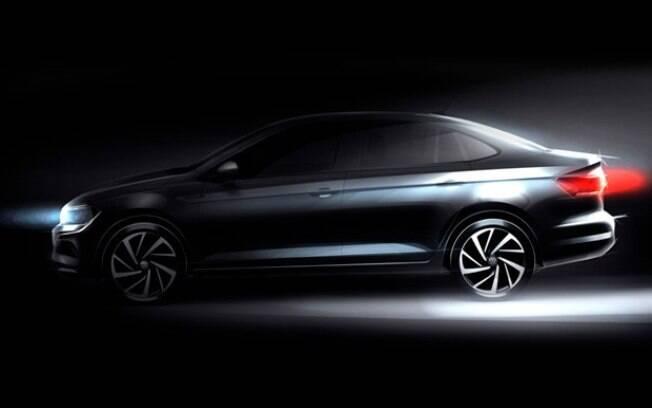 Volkswagen Virtus: esboço oficial revela que o sedã terá uma pitada de esportividade, assim como o Polo