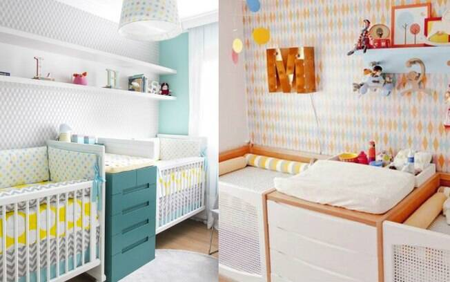 Letras que podem ser colocadas em prateleiras acima dos berços podem indicar quem vai em qual caminha do quarto