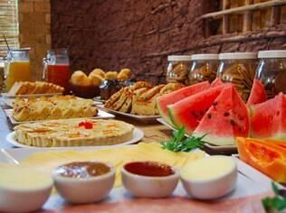Café da manhã na pousada Bahia Bella