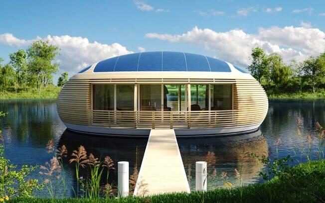 A casa flutuante recebeu o nome de Water Nest, que, em português, significa