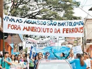 Em Viçosa, houve protesto contra o mineroduto da Ferrous