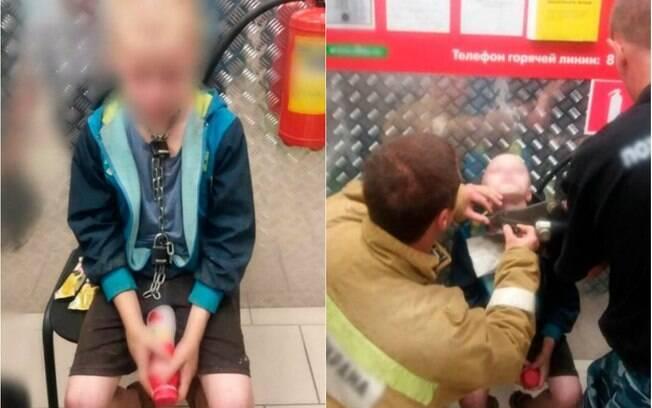Menino foi mantido acorrentado pelo pai e só saiu de cativeiro após ele ir ao hospital socorrer esposa