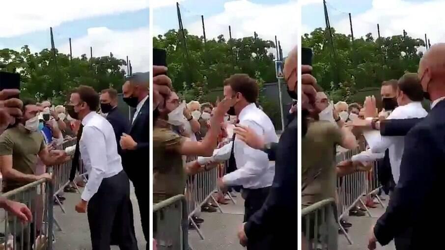 Macron leva tapa de manifestante