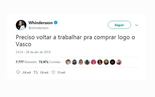 Após tempo de recuperação, Whindersson Nunes volta ao Twitter