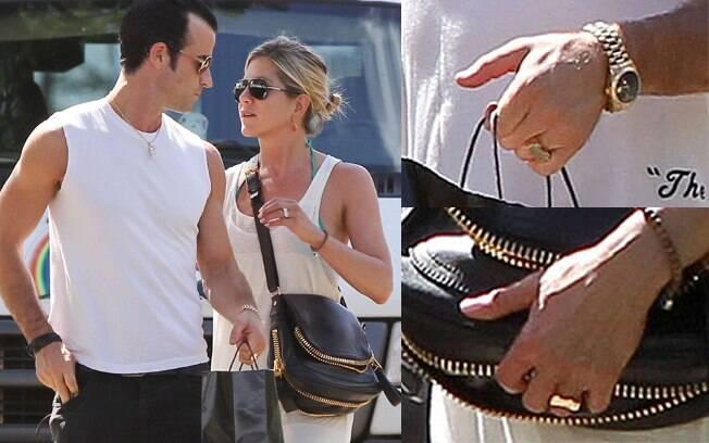 Jennifer Aniston e Justin Therourx já usam aliança
