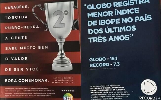 Anúncios do SBT e da Record sobre a vice-liderança na audiência da televisão brasileira