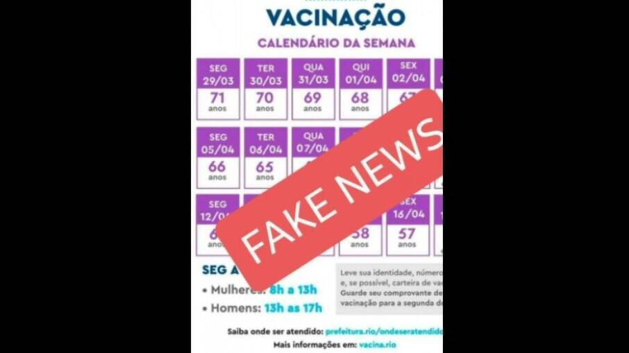 Calendário fake de vacinação circulou nas redes sociais; Prefeitura do Rio desmentiu