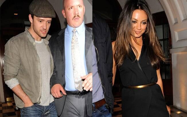 Justin Timberlake e Mila Kunis deixam restaurante juntos