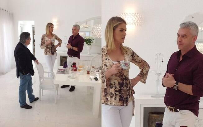 Ana Hickmann contou as boas novas da grávida no programa 'Domingo Espetacular', da Record