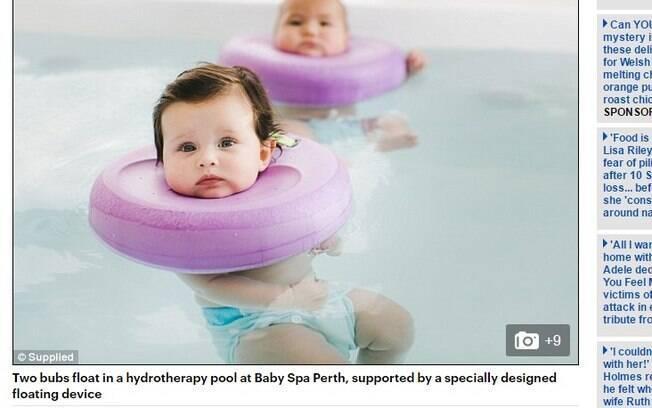 No spa os bebês fazem hidroterapia e massagem para relaxar
