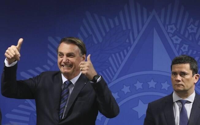 O presidente Jair Bolsonaro com o ministro da Justiça Sergio Moro