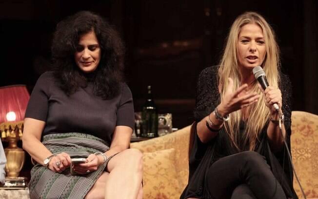 Lúcia Veríssimo e Adriane Galisteu durante a coletiva de imprensa