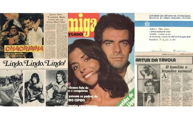 Detalhe de matérias, críticas e prêmios da vida de Mário Gomes