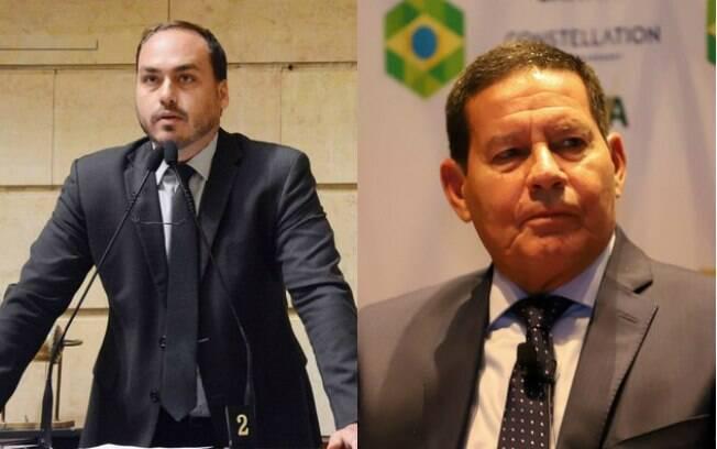 Filho de Bolsonaro voltou a atacar o vice-presidente Mourão