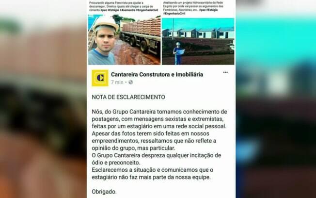 Estagiário de uma construtora do Paraná foi demitido após publicações polêmicas nas redes sociais