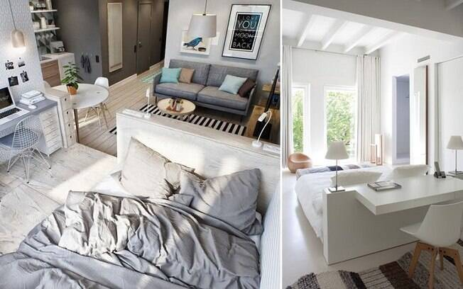 Se for mais alta que o normal ou tiver uma funcionalidade, a própria cabeceira da cama serve como divisória
