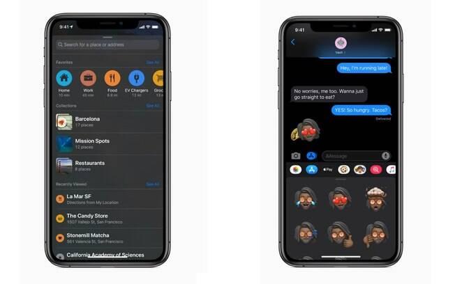 Aplicativos como os Lembretes e as Mensagens foram atualizados para combinar com o layout e funcionalidade do iOS 13