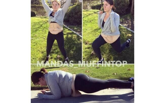 Amanda Roberts mostra como é se exercitar com tanto excesso de pele na barriga