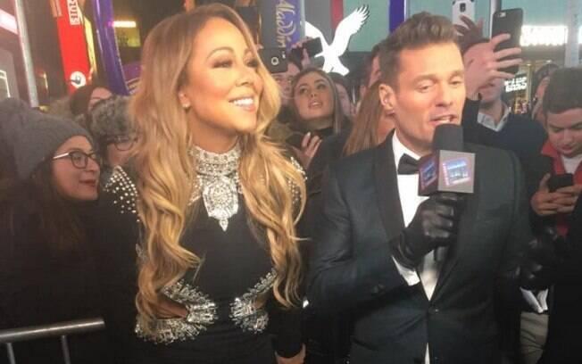 Mariah Carey em entrevista antes de subir ao palco para desastroso show