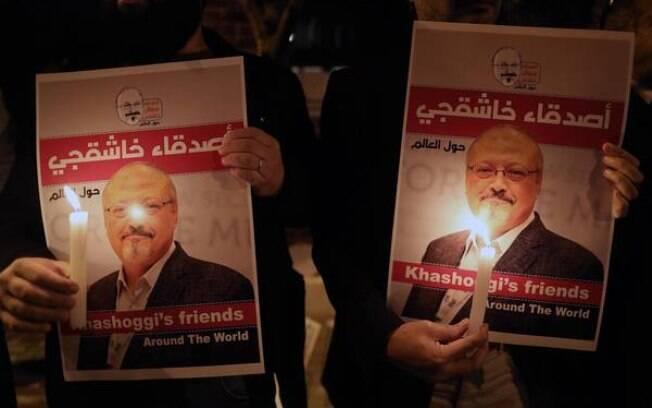 Protesto em Istambul pelo assassinato do jornalista saudita Jamal Khashoggi