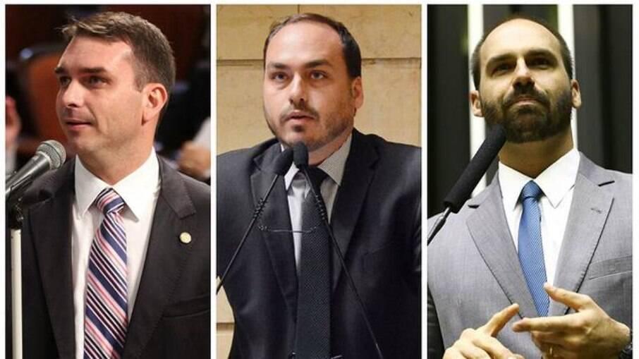 Deputado federal Eduardo, vereador Carlos e senador Flávio Bolsonaro