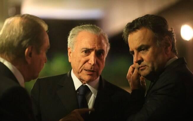 Temer, Agripino Maia e Aécio: senadores apoiam Rodrigo Maia; presidente prefere Rogério Rosso
